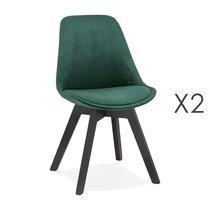 Lot de 2 chaises repas en tissu vert et pieds noirs - SARAH