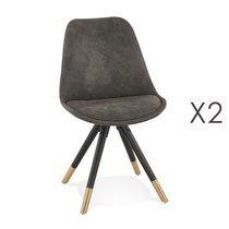 Lot de 2 chaises repas en tissu gris foncé et pieds noirs - KRAFT