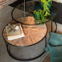 Lot de 2 tables basses 91 et 74,5 cm en verre, bois et métal