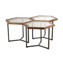 Lot de 3 tables d'appoint 69x60x51 cm en verre, bois et métal