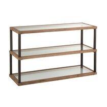 Console 3 niveau 132x46x79 cm en verre, bois et métal