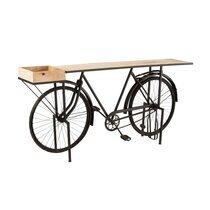 Console piètement vélo 183x36x89 cm en bois et métal noir - ROAD