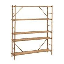 Etagère 4 niveaux 160x40x195 cm en bambou naturel