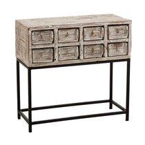 Console 8 tiroirs 73x34x75 cm en bois recyclé délavé et métal