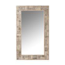 Miroir 150x90 cm en bois recyclé délavé blanc
