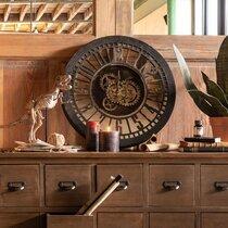 Horloge ronde antique 60 cm noir et doré