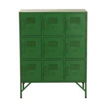 Buffet industriel 9 portes 86x41x113,5 cm en métal vert