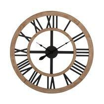 Horloge rustique ronde 90 cm en bois avec chiffres romains