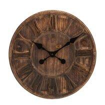 Horloge ronde 40 cm en bois marron avec chiffres romains