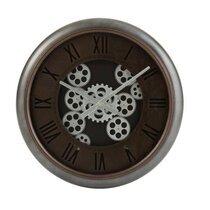 Horloge ronde ancienne 52 cm en métal marron et argent