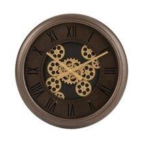Horloge ronde ancienne 52 cm en métal marron et doré