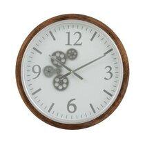 Horloge ronde 52 cm en bois marron et gris