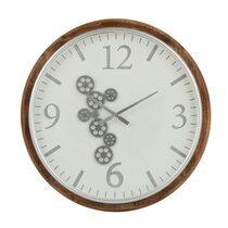 Horloge ronde 75 cm en bois marron et gris