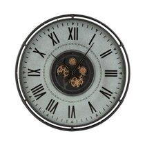 Horloge ancienne ronde 109 cm en métal gris et doré