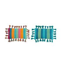 Lot de 2 coussins 50x30 cm en coton multicolore