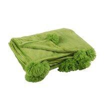 Plaid 130x170 cm en polyester vert avec pompons - PANDO