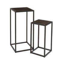 Lot de 2 sellettes carrées 39 et 31 cm en métal noir