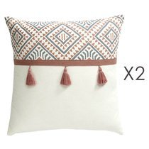 Lot de 2 coussins carrés 50 cm avec pompons en coton - DIAMY