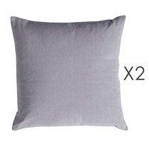 Lot de 2 coussins carrés 50 cm en coton gris - YUNI