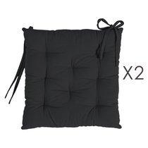 Lot de 2 galettes de chaise 40x40 cm en coton noir - YUNI