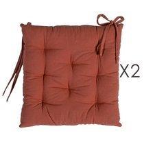 Lot de 2 galettes de chaise 40x40 cm en coton marron - YUNI