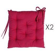 Lot de 2 galettes de chaise 40x40 cm en coton fuchsia - YUNI
