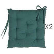 Lot de 2 galettes de chaise 40x40 cm en coton vert foncé - YUNI