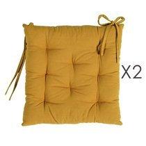 Lot de 2 galettes de chaise 40x40 cm en coton curry - YUNI