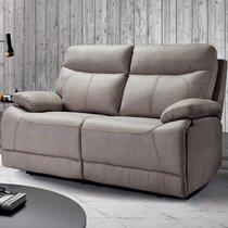 Canapé 2 places fixe en microfibre gris