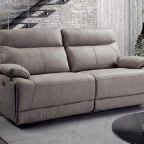 Canapé de relaxation électrique 3 places en microfibre gris