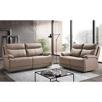 Ensemble de canapés de relaxation 3+2 places en cuir gris