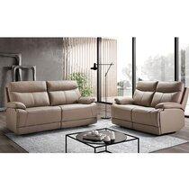 Ensemble de canapés de relaxation 3+2 places fixe en cuir gris