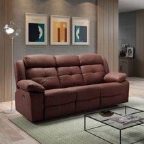 Canapé de relaxation électrique 3 places en tissu nubuck chocolat