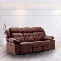 Canapé de relaxation 3 places en tissu nubuck chocolat