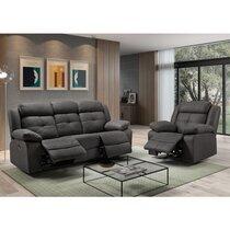 Canapé 3 places + fauteuil de relaxation gris foncé
