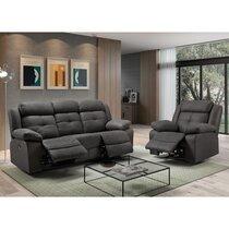 Canapé 3 places + fauteuil de relaxation éléctrique gris foncé
