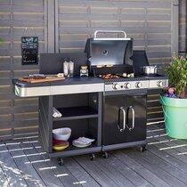 Barbecue au gaz 3 brûleurs et plancha avec desserte - FIDGI
