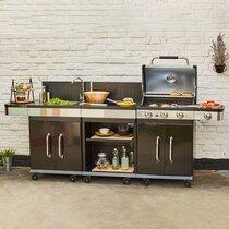 Barbecue au gaz 3 brûleurs et plancha,  desserte et évier - FIDGI