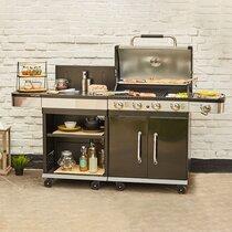 Barbecue au gaz 4 brûleurs et plancha avec desserte - FIDGI