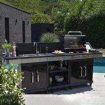 Barbecue au gaz 4 brûleurs et plancha, desserte et évier - FIDGI