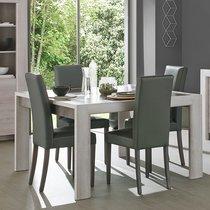 Table à manger 180 cm décor chêne cérusé et gris - APRIL