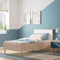 Lit 1 place 90x190 cm décor chêne clair et blanc - JASON