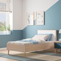Lit 1 place 120x200 cm décor chêne clair et blanc - JASON