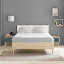 Lit 2 places 140x190 cm décor chêne clair et blanc - JASON