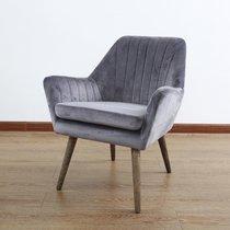 Fauteuil 65x66x76 cm en tissu gris et pieds en bois