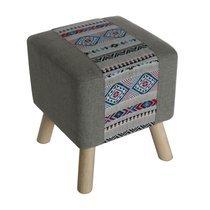 Pouf carré 34x39 cm en tissu gris et motifs