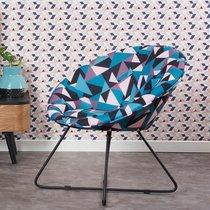 Fauteuil 74x65x70 cm en tissu à motifs géométriques bleus