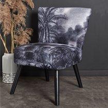 Fauteuil 58x62x76 cm en tissu motif jungle blanc et noir