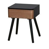 Chevet 1 tiroir 40x34x51 cm en bois marron et noir