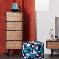 Chiffonnier 4 tiroirs 35x30x98 cm en bois marron et noir